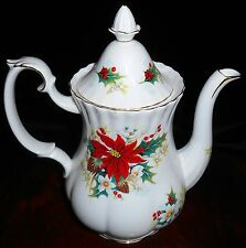 ROYAL ALBERT Bone China POINSETTIA PATTERN Coffee Pot w/Lid ENGLAND