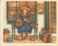 COUNTRY STORE BAKERY SWEET SHOP CAT CHEDDAR CHEESE AUTUMN PUMPKINS VEGGIES CARD