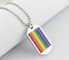 Unisex Gay Pride Rainbow Dog Tag Necklace - Brand New
