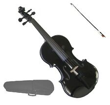1/16 Size BLACK VIOLIN & BLACK BOW,CASE ~ ACOUSTIC STUDENT KIDS BEGINNER STARTER