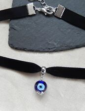 Black Velvet Choker/Necklace Blue Glass Lampwork Evil Eye Bead Halloween UK
