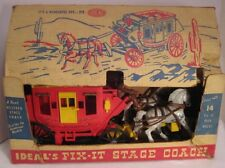 "Unusual Old Plastic Toy IDEAL'S Fix-It Stage Coach Big 15"" w Box 1950s as is"