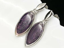 leaf leopard black purple print silver plate dangle earrings fashion jewelry E58