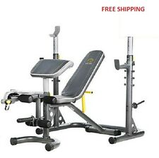 Gold's Gym Workout Bench + Power Rack XRS 20 Olympic Press Training Exercise Gym