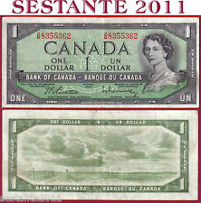 CANADA  1 DOLLAR 1954 -  Serie ZM - Sign Beattie & Rasminsky -  P 75b -  BB / VF