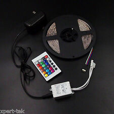 5M Waterproof SMD3528 Strip Light 300 LED RGB+24K IR Remote Control+12V/2A Power