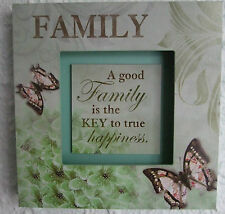 Family Wooden 3D Wall Plaque A GOOD FAMILY IS THE KEY TO TRUE HAPPINESS