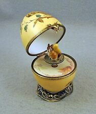 PLAYS MUSIC BOX NEW FRENCH LIMOGES TRINKET BOX EGG SQUIRREL ACORN SQUIRREL KEY