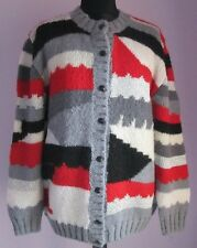 VTG Ladies Unbranded Grey/Red/White/Silver Mohair Blend Cardigan Size XL    (10)