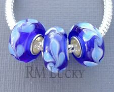 3 pcs Lampwork Murano Glass Beads. Large hole fit European Charm Bracelet G38