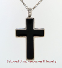 Simple Black and Silver Cross Cremation Jewelry Pendant Urn - Necklace & Funnel
