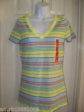 Mossimo Supply CO. Boyfriend Tee Lime Stripe Size Small Women's NEW LAST ONE