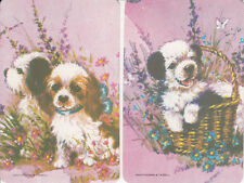 Vintage 70's Swap/Playing Cards - 2 SINGLES- PUPPIES AND FLOWERS