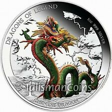 Perth 2012 Dragons Legend Chinese Dragon $1 Pure Silver Proof with Color # 1188