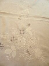 """Vintage Linen Banquet Tablecloth 64x140"""" Floral Cutwork Embroidery Grape Roses"""