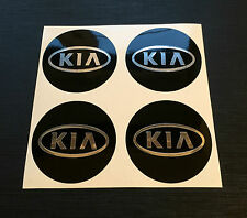 Set 4 x 50mm ALLOY WHEEL STICKERS Kia Chrome Effect logo centre cap badge