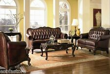 Victoria Tri-Tone Leather Sofa Love Seat Chair Couch Set Traditional Luxury Sofa