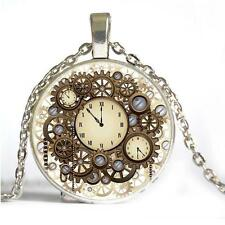Fashion Steampunk Cabochon Glass Pendant Gear Necklace Bronze Chain Hot Vintage
