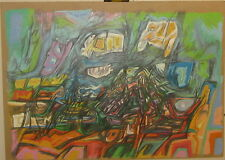 1964 John Cipot ABSTRACT EXPRESSIONIST Oil Pastel Painting -Listed NON OBJECTIVE