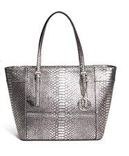 GUESS Delaney Classic Medium Tote Handbag Purse Python Embossed Metallic Silver