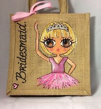Personalised Hand painted Bridesmaid Flower Girl Ballet Jute Mini Gift Bag