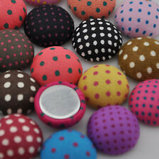 50 pcs 15mm Round polka-dot printing fabric covered button w/flat back CT08