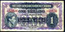 East African Currency Board. One Shilling, A/59 55856, 1-1-1943, Good Fine +.