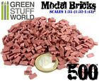500x Ceramic Model Bricks - RED - Basing Scatter Scenery - 1/35 (1/32 - 1/43)