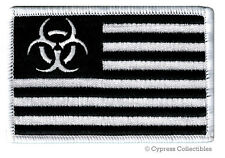ZOMBIE APOCALYPSE BLACK FLAG PATCH iron-on BIOHAZARD SYMBOL AMERICAN embroidered