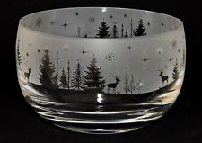 *WINTER WONDERLAND* Boxed 12.5cm CRYSTAL GLASS SWEET BOWL with CHRISTMAS design