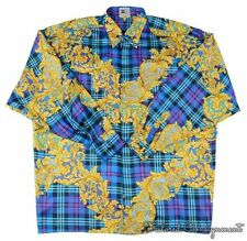 VERSACE V2 Vintage Teal Gold Plaid Barocco 100% SILK Mens Casual Dress Shirt XL