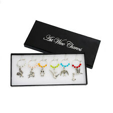 1Box Mixed Wine Glass Charms Pendant Table Decorations W/Box for Xmas Party