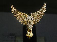 Filigrane Brosche , 24 Karat vergoldet, Engel, Schutzengel mit Flügel mit Strass