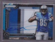 2014 Topps Strata Blue Eric Ebron On Card Auto 4 Color Patch Rc Serial# To 75