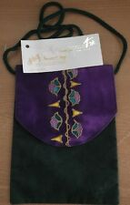 Efrat Schwartz Passport bag hand painted Israel purple green floral NWT 6x8""