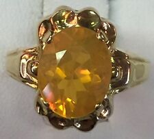 Vintage Mexican Fire Opal 10K Solid Yellow Gold Ring Size 6