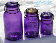 Set of 3 sizes deep PURPLE antique SECURITY SEAL Fruit Jars