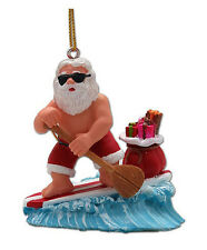 Hawaiian Christmas Poly Resin Ornament Santa SUP Surf Hawaii Mele Kalikimaka NIB
