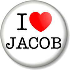 "I Love / Heart JACOB 25mm 1"" Pin Button Badge Black Twilight Saga Movie Werewolf"