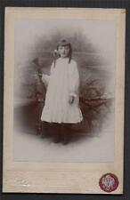 Young girl ringlets hair Vale150 Kirkstall Leeds Photograp Cabinet card.  L.444