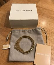 NWT Authentic Michael Kors MKJ5787710 Modern Fringe Luxe Gold Tone Bracelet