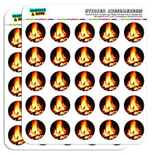 "Campfire Camp Camping Fire Pit Logs Flames 1"" Scrapbooking Crafting Stickers"