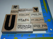 Stampin Up All About U You Stamp Set of 12 Celebrate Thank Miss Love Bless Just