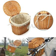 Wicker Bicycle Bike Front Basket Handlebar Hook With Lid + Handle + Linen Bag