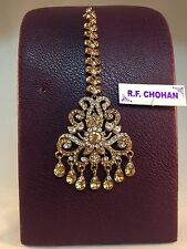GOLD DIAMANTE INDIAN TIKKA HEADPIECE BRIDAL PARTY BOLLYWOOD STYLE DH30-109GW/LCT