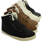 LADIES ANKLE BOOTS HI HIGH TOP TRAINERS FUR LINED PUMPS FLAT SOLE SHOES UK SIZES