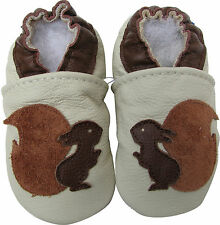 carozoo squirrel cream 2-3y soft sole leather toddler shoes slippers