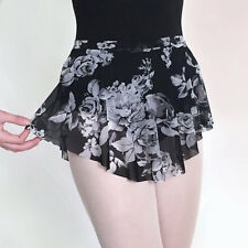 RARE! Ballet Dance Skirt Black Floral Mesh Stretch SAB Wrap Look Circle Skirt