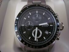FOSSIL Mens CH2600 Decker Stainless Steel Black Chronograph Dial Watch NWB