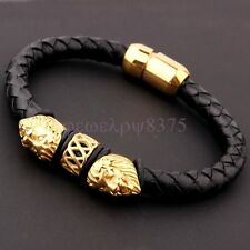 Cool Gold Double Lion Head Stainless Steel Black Leather Fashion Mens Bracelet
